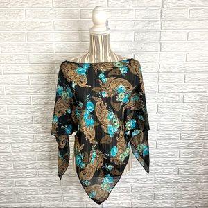 Vintage 90s A Byer Sheer Paisley Handkerchief Top